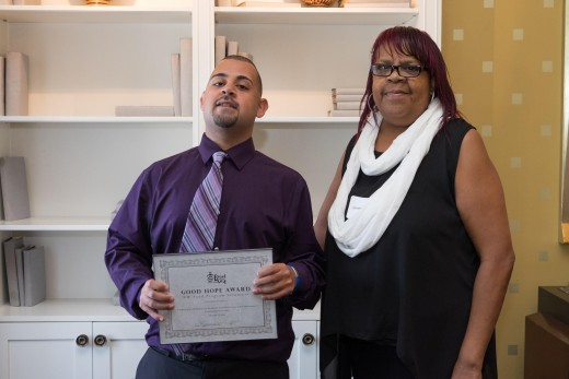 Awardee Andres Urbina (left) and BFC's Ms. Jeanette