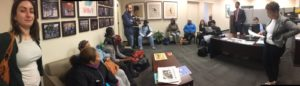 Leaders from Bread, Fair Budget Coalition, and So Others Might Eat (SOME) lobby for affordable housing and other budget priorities at Councilmember Brandon Todd's office.