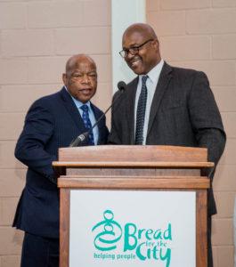Congressman Lewis (L) alongside George A. Jones, CEO, Bread for the City